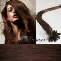 40 cm vlasy pro metodu Keratin 0,5 g - odstín středně hnědá #4