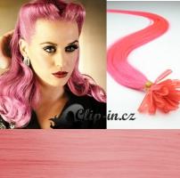 40 cm vlasy pro metodu Keratin 0,5 g - odstín růžová
