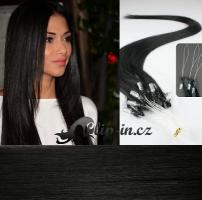 40 cm vlasy pro metodu Micro Ring 0,5 g - odstín uhlově černá #1