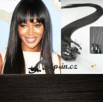 40 cm vlasy pro metodu Micro Ring 0,5 g - odstín přírodní černá #1b