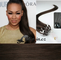 40 cm vlasy pro metodu Micro Ring 0,5 g - odstín tmavě hnědá #2