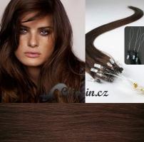40 cm vlasy pro metodu Micro Ring 0,5 g - odstín středně hnědá #4