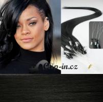 50 cm vlasy pro metodu Micro Ring 0,7 g - odstín uhlově černá #1