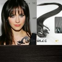 50 cm vlasy pro metodu Micro Ring 0,7 g - odstín přírodní černá #1b