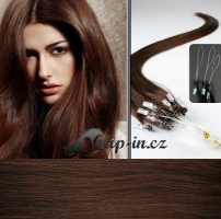 50 cm vlasy pro metodu Micro Ring 0,7 g - odstín středně hnědá #4