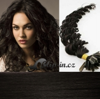 50 cm kudrnaté vlasy pro metodu Keratin 0,5 g - odstín přírodní černá #1b