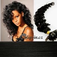 50 cm kudrnaté vlasy pro metodu Keratin 0,7 g - odstín uhlově černá #1