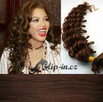 50 cm kudrnaté vlasy pro metodu Keratin 0,5 g - odstín středně hnědá #4