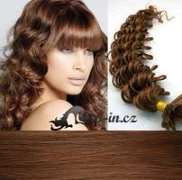 50 cm kudrnaté vlasy pro metodu Keratin 0,5 g - odstín světlejší hnědá #6