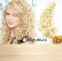 50 cm kudrnaté vlasy pro metodu Keratin 0,5 g - odstín platina #60