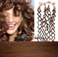 50 cm kudrnaté vlasy pro metodu Micro Ring 0,7 g - odstín světlejší hnědá #6