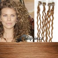 50 cm kudrnaté vlasy pro metodu Micro Ring 0,7 g - odstín světle hnědá #12