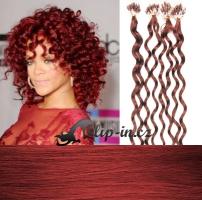 50 cm kudrnaté vlasy pro metodu Micro Ring 0,7 g - odstín měděná #350