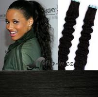 50 cm kudrnaté vlasy pro metodu Tape IN - odstín uhlově černá #1