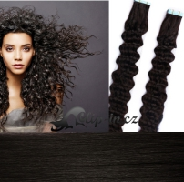 50 cm kudrnaté vlasy pro metodu Tape IN - odstín přírodní černá #1b