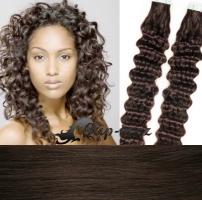 50 cm kudrnaté vlasy pro metodu Tape IN - odstín tmavě hnědá #2