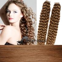 50 cm kudrnaté vlasy pro metodu Tape IN - odstín světle hnědá #12