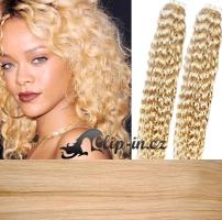 50 cm kudrnaté vlasy pro metodu Tape IN - odstín nejsvětlejší blond #613