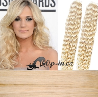 50 cm kudrnaté vlasy pro metodu Tape IN - odstín platina #60