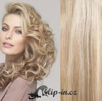50 cm kudrnaté vlasy pro metodu Tape IN - odstín platina/světle hnědá #60/16