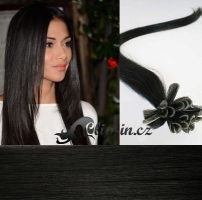 50 cm vlasy pro metodu Keratin 0,7 g - odstín uhlově černá #1