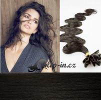 50 cm vlnité vlasy pro metodu Keratin 0,5 g - odstín přírodní černá #1b