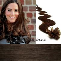 50 cm vlnité vlasy pro metodu Keratin 0,5 g - odstín tmavě hnědá #2