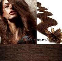 50 cm vlnité vlasy pro metodu Keratin 0,5 g - odstín středně hnědá #4