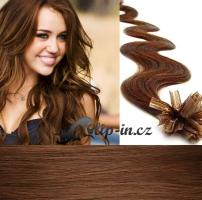 50 cm vlnité vlasy pro metodu Keratin 0,5 g - odstín světlejší hnědá #6