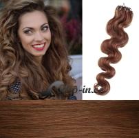 50 cm vlnité vlasy pro metodu Micro Ring 0,5 g - odstín světlejší hnědá #6