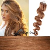 50 cm vlnité vlasy pro metodu Micro Ring 0,5 g - odstín světle hnědá #12