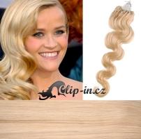 50 cm vlnité vlasy pro metodu Micro Ring 0,5 g - odstín nejsvětlejší blond #613