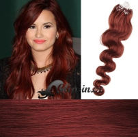 50 cm vlnité vlasy pro metodu Micro Ring 0,5 g - odstín měděná #350