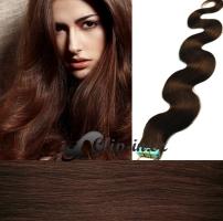 50 cm vlnité vlasy pro metodu Tape IN - odstín středně hnědá #4