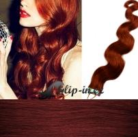 50 cm vlnité vlasy pro metodu Tape IN - odstín měděná #350