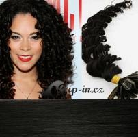 60 cm kudrnaté vlasy pro metodu Keratin 0,7 g - odstín uhlově černá #1