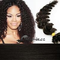60 cm kudrnaté vlasy pro metodu Keratin 0,5 g - odstín přírodní černá #1b