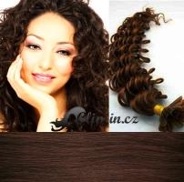 60 cm kudrnaté vlasy pro metodu Keratin 0,5 g - odstín středně hnědá #4