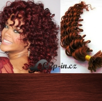 60 cm kudrnaté vlasy pro metodu Keratin 0,7 g - odstín měděná #350