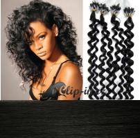 60 cm kudrnaté vlasy pro metodu Micro Ring 0,5 g - odstín uhlově černá #1