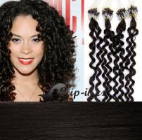 60 cm kudrnaté vlasy pro metodu Micro Ring 0,5 g - odstín přírodní černá #1b