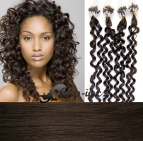 60 cm kudrnaté vlasy pro metodu Micro Ring 0,7 g - odstín tmavě hnědá #2