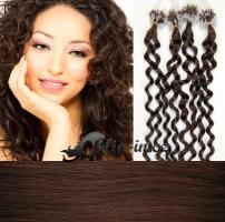 60 cm kudrnaté vlasy pro metodu Micro Ring 0,7 g - odstín středně hnědá #4