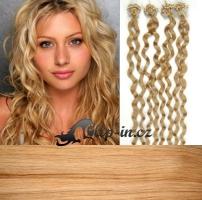 60 cm kudrnaté vlasy pro metodu Micro Ring 0,5 g - odstín přírodní blond #22