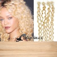60 cm kudrnaté vlasy pro metodu Micro Ring 0,5 g - odstín nejsvětlejší blond #613