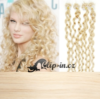 60 cm kudrnaté vlasy pro metodu Micro Ring 0,7 g - odstín platina #60