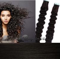60 cm kudrnaté vlasy pro metodu Tape IN - odstín přírodní černá #1b