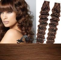 60 cm kudrnaté vlasy pro metodu Tape IN - odstín středně hnědá #4