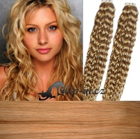 60 cm kudrnaté vlasy pro metodu Tape IN - odstín přírodní blond #22