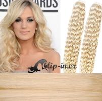60 cm kudrnaté vlasy pro metodu Tape IN - odstín platina #60